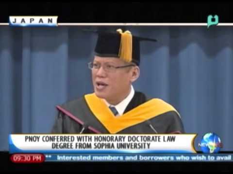 President Aquino conferred w/ Honorary Doctorate Law Degree from Sophia University - 12/13/13