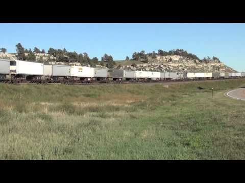 2 Union Pacific Railroad stack / van trains meet @ Point of Rocks, Ne off US Rt 30 9/24/13