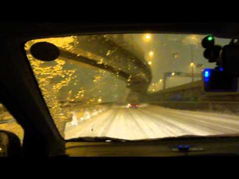 Tokyo Heavy Snow Day Drive 2014 02 08 night