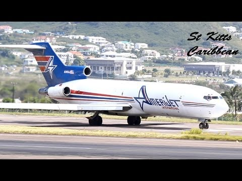 Amerijet 727-200 action @ St Kitts Airport (HD 1080p)