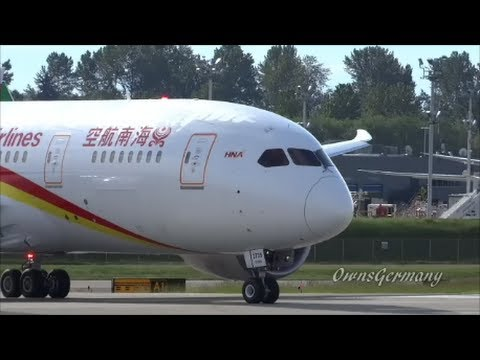 NEW Hainan Airlines 787 Dreamliner Full Test Flight w/ RTO - Take Off & Landing @ KPAE
