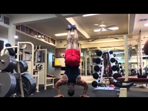World record handstand push up from 50 year old
