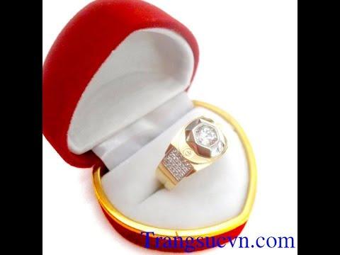 Nhẫn vàng tây kim cương, nhẫn nam giá rẻ, nhẫn nam quý phái