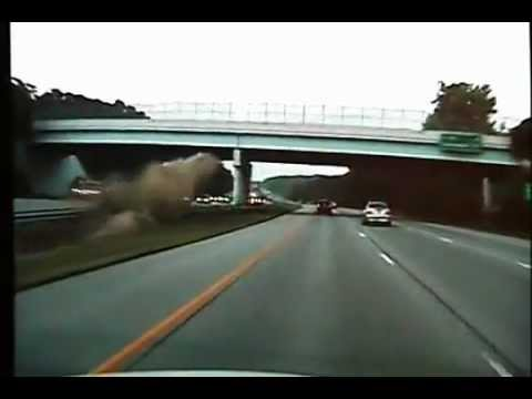 Extra Footage of 675 wreck Car goes airborne 100 mph crash hits bridge caught in Ohio