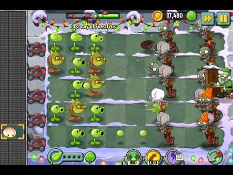 Plants vs. Zombies 2 Holiday party 5 days of Feastivus snow event ios iphone gameplay