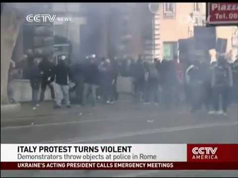 Anti-austerity protest in Italy turns violent