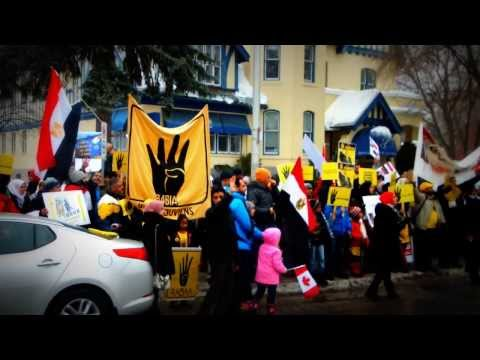 Egyptians Protesting in front of the Egyptian Embassy in Ottawa-Canada 11/01/2014