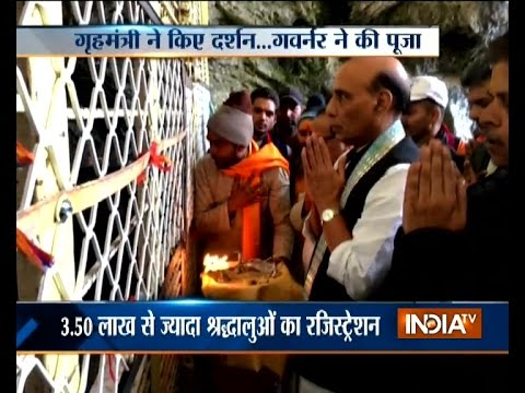 Home minister Rajnath Singh visits Amarnath shrine in Jammu and Kashmir