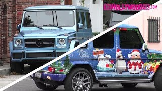 Justin Bieber Switches Up His Christmas Themed G-Wagon With A Light Blue Satin Wrap 3.20.18