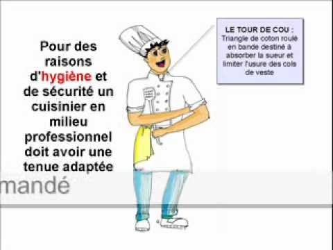 La tenue du cuisinier youtube for Tenue professionnelle cuisine