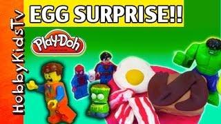 PLAY-DOH Surprise Egg Breakfast Super Hero HobbykidsTV
