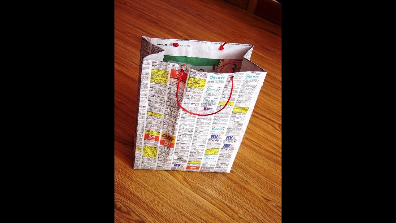 Bolsas para regalo en papel periodico youtube - Hacer bolsas de papel para regalo ...