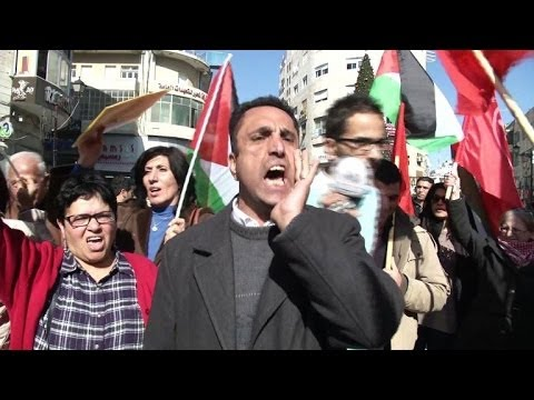 Palestinians rally against Israeli positions in peace talks