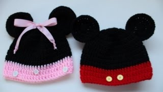 #Crochet Mickey And Minnie Disney Inspired Beanies
