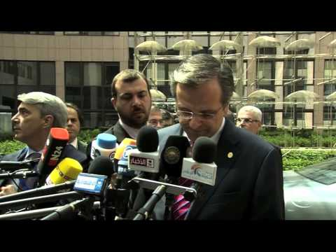 Greece PM Antonis Samaras arrives at the May 2013 EU Summit