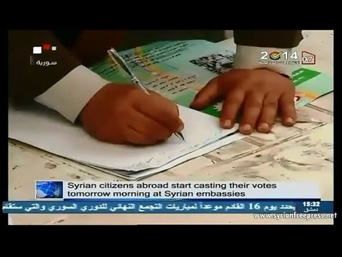 Syria News 27/5/2014 ~ Syrian citizens abroad start casting their votes tomorrow