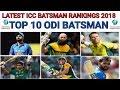 ICC Latest ODI Batsman Ranking 2018 ICC TOP 10 ODI Batsman Latest ICC ODI Ranking 2018