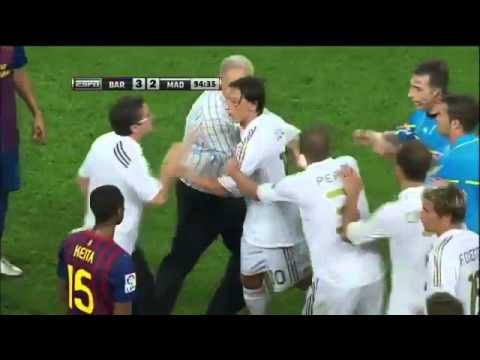 Real Madrid vs Barcelona Supercopa Brawl in Spanish, August 17, 2011 Fabregas, Ozil, Villa Red Card