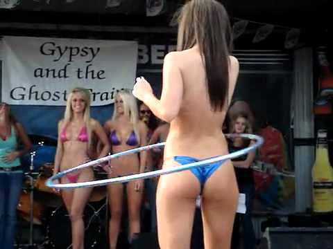Bikini Contest Girls Playing With a Hula Hoop