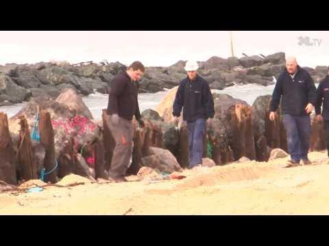 Travaux de renforcement des digues de l'exutoire du lac marin à Vieux-Boucau