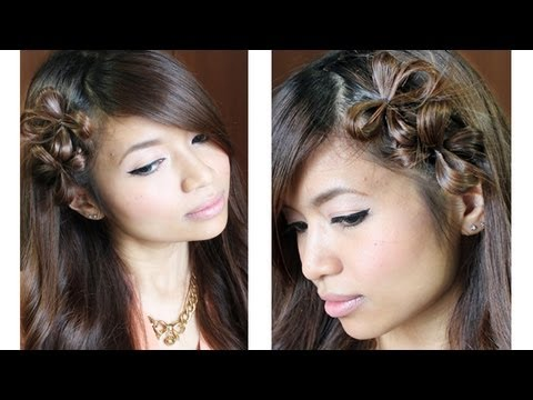 Flower Hair Bow Tutorial for Medium Long Hairstyles, Hi guys, this tutorial will show you how to make a flower hair bow out of your own hair. This highly requested hairstyle can be achieved on medium to long ha...