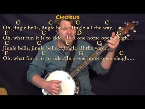 Jingle Bells (Christmas) Banjo Cover Lesson in C with Chords/Lyrics