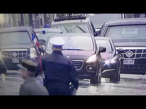 上空女子在巴黎市区逼近川普车队 遭警方逮捕