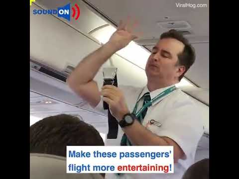 FUNNY: Flight attendant giving instrucions in a funny way.