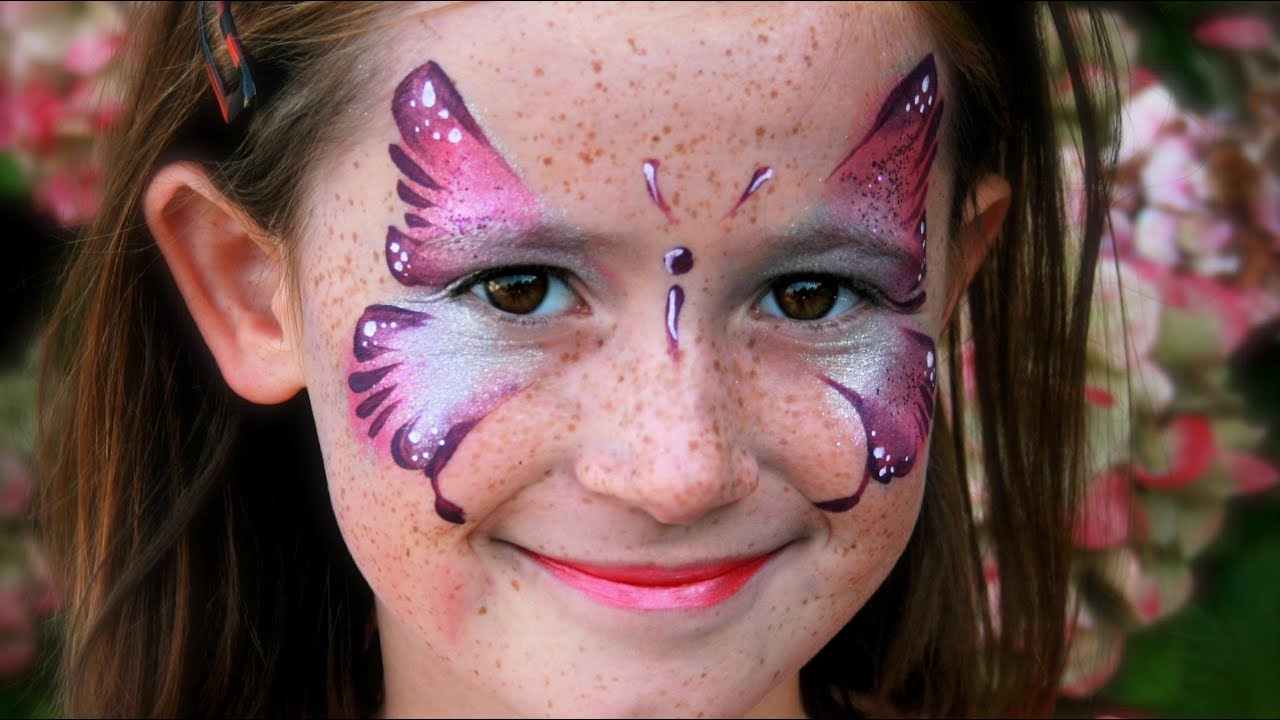 Rosa Schmetterling schminken / Schmetterling Kinderschminken Vorlage ...