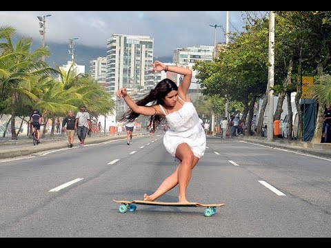 Cute Longboarding Girl
