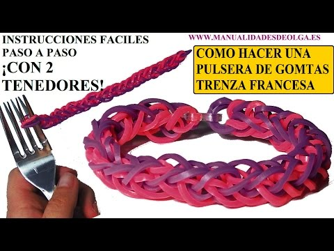 COMO HACER PULSERA DE GOMITAS TRENZA FRANCESA CON 2 TENEDORES VIDETUTORIAL BRACELET SIN TELAR