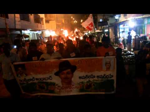 DYFI AND SFI HYDERABAD BHAGAT singh vardanti at 23-03-2014 rally fm site-3 to borabanda
