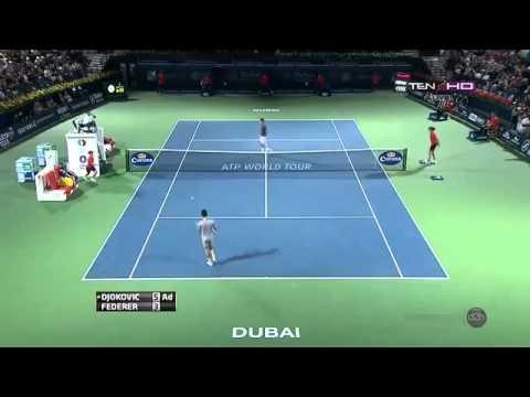 Roger Federer Vs Djokovic Fantastic Point Dubai  2014 Semifinals