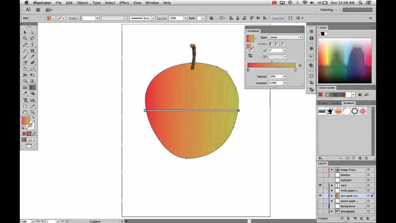 illustrator how to add gradient to shape