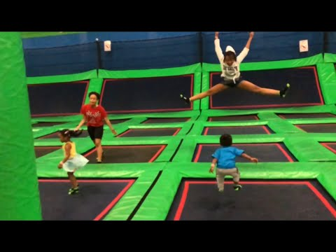 Jumping fun at indoor trampoline park  bounce with kids