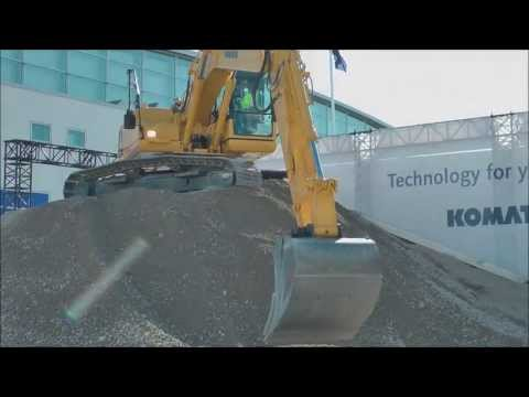 Prototype Komatsu excavator and bulldozer live demonstration