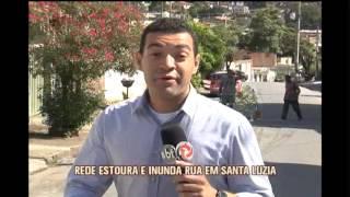 Rede estoura e inunda rua em Santa Luzia