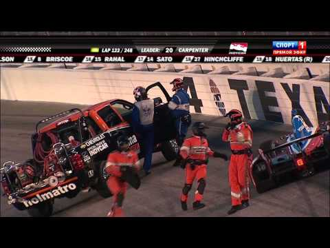Verizon IndyCar 2014. Firestone 600. Sebastien Bourdais and Justin Wilson Crash
