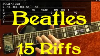 THE BEATLES 15 Awesome Riffs! ( EASY Guitar Lesson ) By