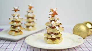 Árboles de Navidad de hojaldre y nutella