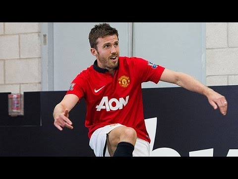 Man Utd's Michael Carrick takes on the bwin Corner Kick Challenge