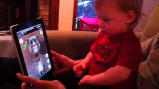 "Baby talking to ""Talking Tom"" iPad"