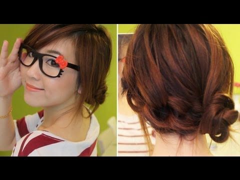 3 Min Cute Knotted Hairstyle,,, Try It :), Here is just a quick hair tutorial that only takes a few minutes to do. Great for days where you are in a hurry to do your hair but you still want to look cu...