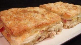 Sandwinch al horno con queso, jamón y crema
