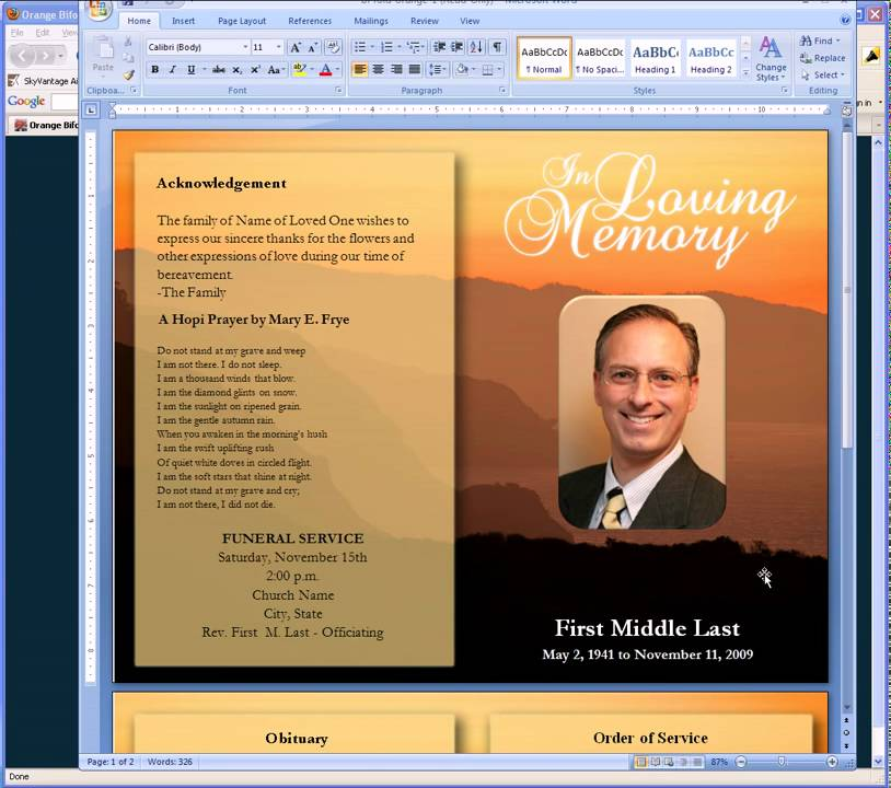 Funeral program template maxwellsz