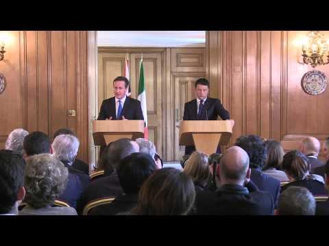Press conference conferenza stampa David Cameron Matteo Renzi