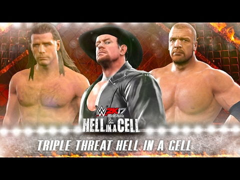 WWE 2K17 Undertaker vs Triple H vs Shawn Michaels - Hell In A Cell Full PS4 Gameplay Match
