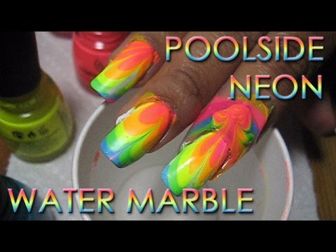 Poolside Neon Rainbow (#2) Water Marble Nail Art Tutorial - YouTube