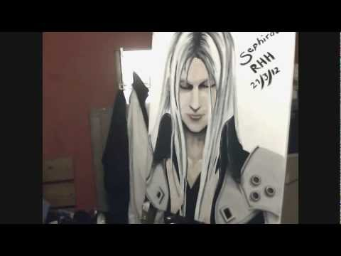 Sephiroth Acrylic Painting 30x20 stretched wooden canvas