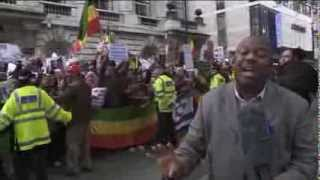 Ethiopians demonstrate outside Saudi embassy in London